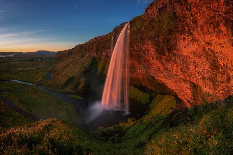 сельяландсфосс, исландия, iceland, seljalandsfoss, Вечер в Исландии.photo preview