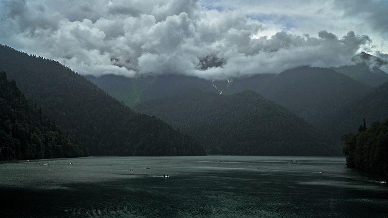 lake, abkhazia, trees, forest, sky, clouds, mountains, waves, nature, landscape, cinematic, cine, film, colors, colorgrade, colorgrading Lake Ritsaphoto preview
