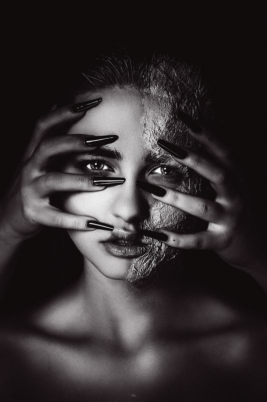 woman, portrait, conceptual, art, black and white, studio Birds born in a cage think flying is an illnessphoto preview