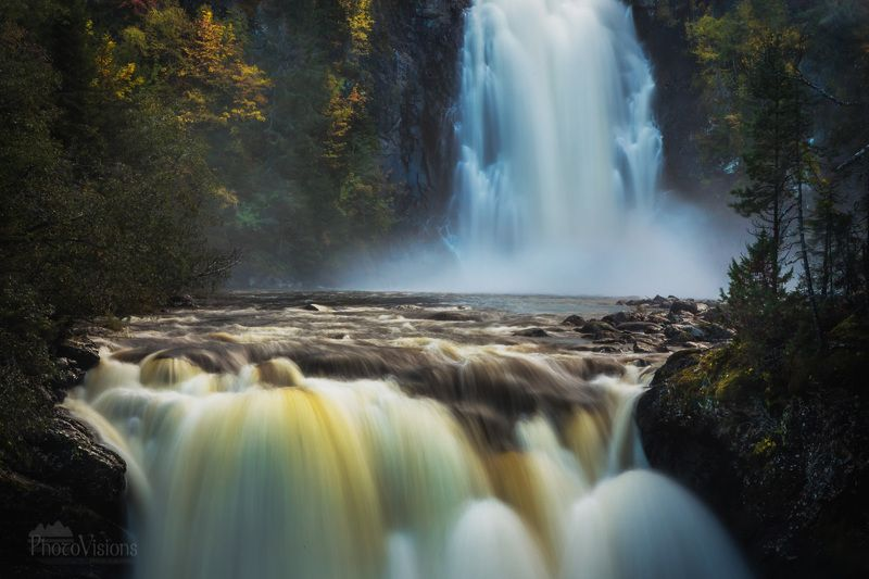 waterfall, norway, landscape, autumn, autumnal, longexposure, river, mountains, Two fallsphoto preview