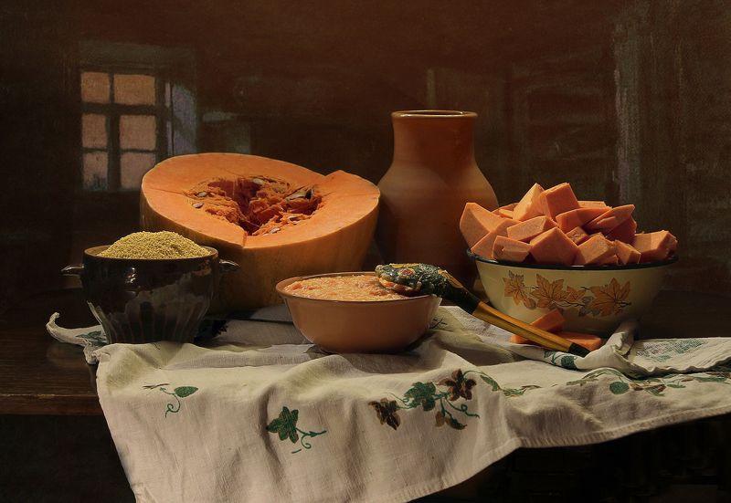 натюрморт, тыква, каша, осень, крынка, керамика Про тыквенную кашуphoto preview