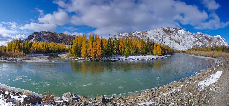 осень, алтай, река, чуя, вода, снег, ледоход, снежная Осенний ледоходphoto preview
