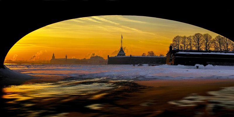 зима лед снег крепость город пейзаж панорама Январьphoto preview