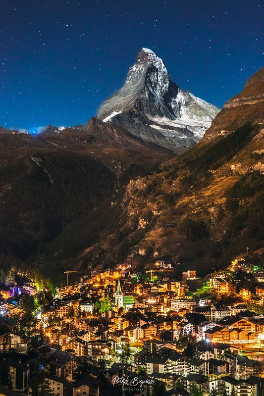 mountains, landscape, night, nightscape, architecture, travel, city, village, alps, snow, autumn, fall, light, sky, stars, Nature vs. humansphoto preview