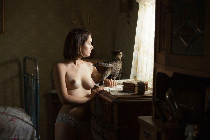 ню, девушка, грудь, обнажённая,окно, винтаж, котёнок photo preview