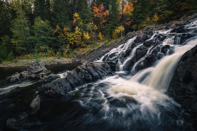 landscape, waterfall, autumn, norway, forest, river, boreal, Autumnal outdoorsphoto preview