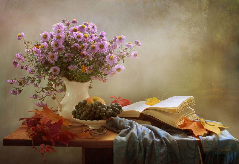 натюрморт, осень, тыква, виноград, листья, цветы, хризантемы Бабье летоphoto preview