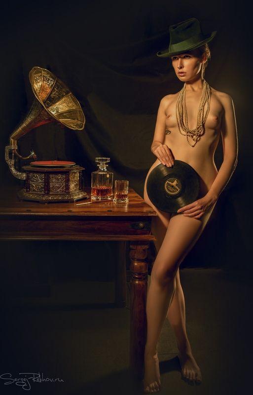 ню, модель, гламур, ретро, model, nude, dark Ангелинаphoto preview