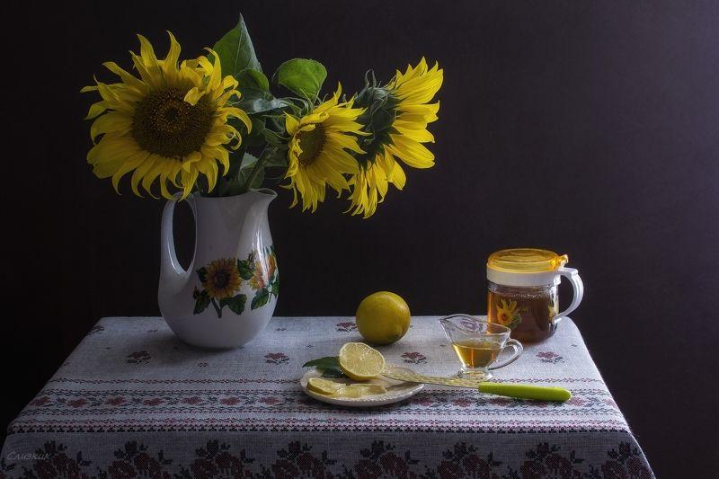 натюрморт, подсолнух, кувшин,мёд,осень,дары,лимон,свет Осеннийphoto preview