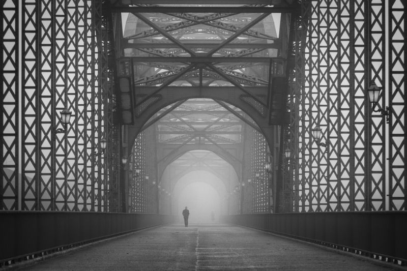 bridge, fog, mist, haze, alone, people, street, urban, way, road, hamburg, germany urban melancholy 2photo preview