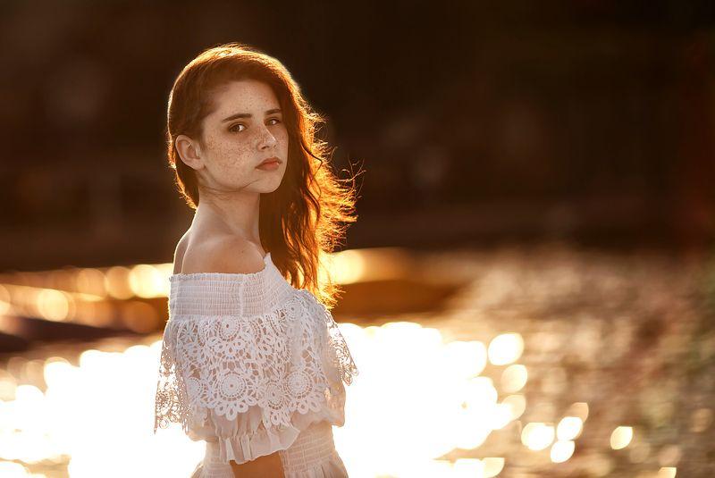 портрет, девушка, модель, закат, лето Ольгаphoto preview