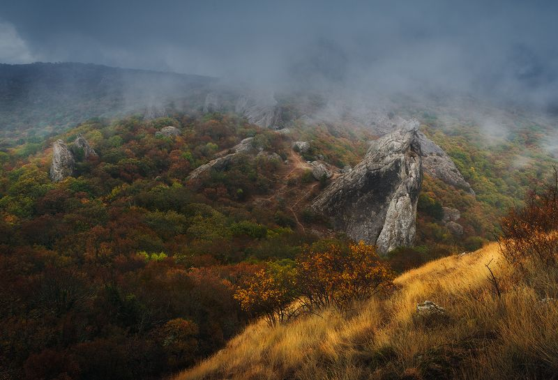 крым, осень, осень в крыму, крымские горы, горы, туман, октябрь, ноябрь, россия, путешествия, золотая осень, туризм, золотая осень в крыму Магия осени в горах Крымаphoto preview