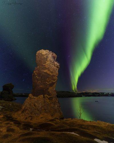 Myvatn lake & northern lights. Iceland.