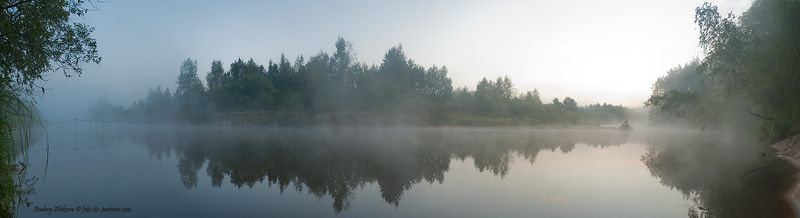 лето, рассвет, река, туман, лес Серия \