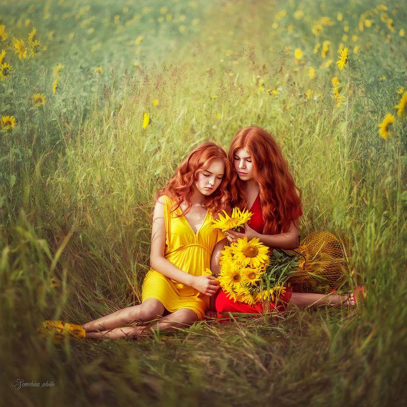 девушка, дети, лето, портрет, подсполнух, красный, желтый, girl, children, portreit, summer, sunflower, red, yellow photo preview