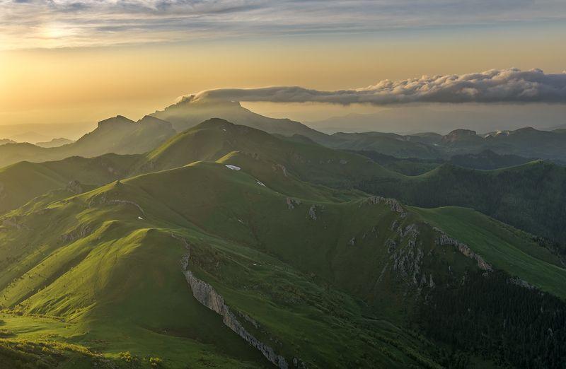 закат, большой тхач, малый тхач, асбестная, горы, пейзаж, рассвет, кавказ, адыгея, радуга, ачешбоки, облака, заповедник, \
