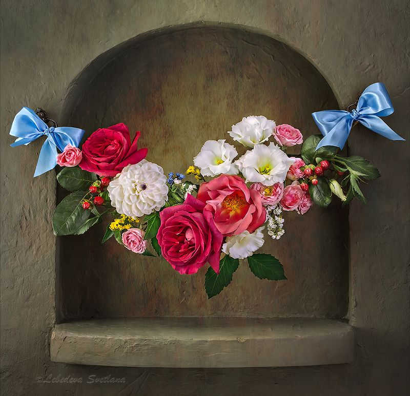 цветы,фрукты,ниша,натюрморт Натюрморты с нишей по мотивам фламандских художниковphoto preview