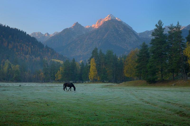 горы осень архыз утро Рассвет в горах Кавказаphoto preview