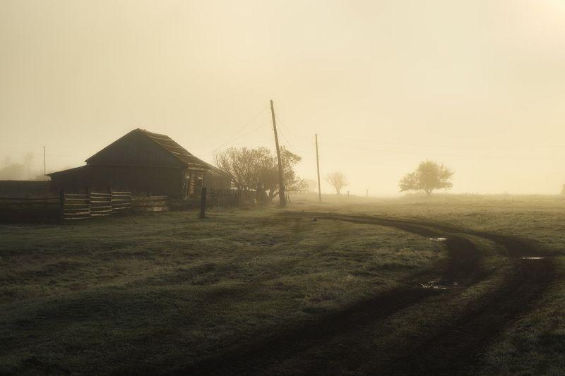 россия, алтай, алтайский край, тигирек, сибирь, осень, природа, пейзаж, горы, хребет, лесостепь, рассвет, утро, туман, заповедник Умирающий поселокphoto preview
