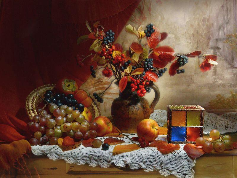 still life,натюрморт,яблоки ,хурма ,фото натюрморт ,рябина, покров пресвятой богородицы, подсвечник, осень, октябрь, листья ,керамика, калина, виноград Покров...photo preview