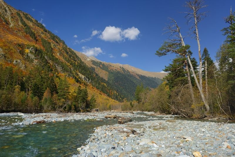 горы осень архыз река псыш Осень в ущелье Псышphoto preview