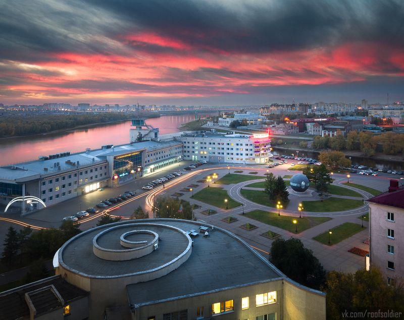 Омск, город, крыша, закат, пейзаж, Россия, Urban Exploration Бухгольцаphoto preview