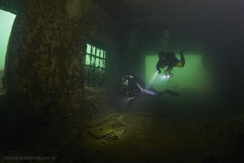underwater wreck diver mine rummu За решеткой...photo preview