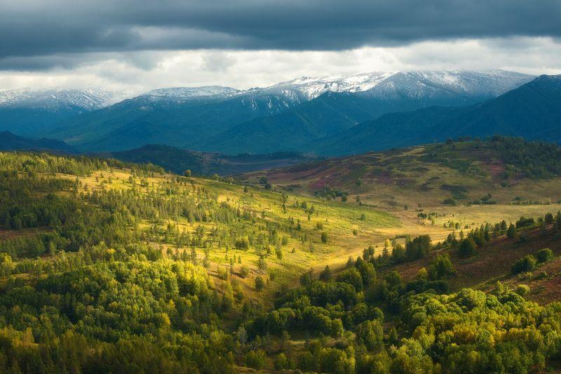 россия, алтай, алтайский край, тигирек, сибирь, осень, природа, пейзаж, горы, хребет, лесостепь, закат,  заповедник Алтайские зарисовкиphoto preview