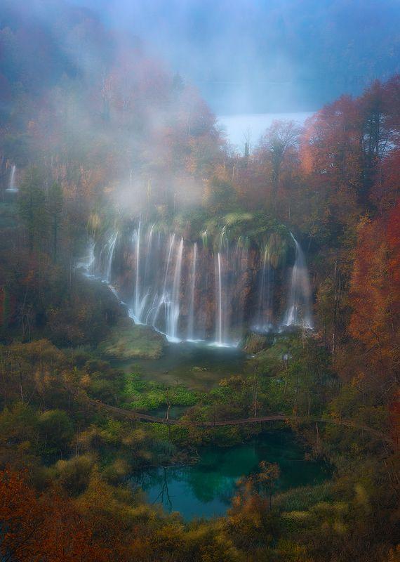 plitvice lakes croatia landscape autumn waterfall mist fog sunrise  plitvicephoto preview