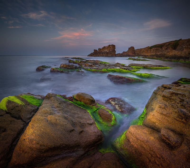 landscape nature seascape rocks castal coast beach sea seaside long exposure scenery  sunset cloudy bulgaria Light\'s lullabyphoto preview