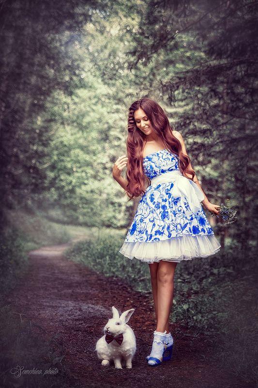 девушка, портрет, кролик, алиса, сказка, тропинка, лес, girl, portreit, rabbit, fairy tale, path, wood photo preview