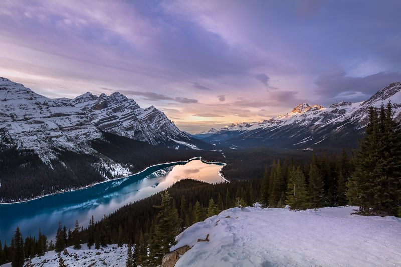 peyto, lake, banff, sunset, mountains ВЕЧЕР НАД ПЕЙТОphoto preview
