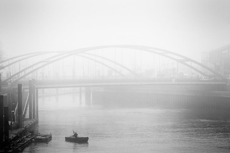 bridge, fisher, water, fleet, fog, mist, haze, hamburg Anglerphoto preview