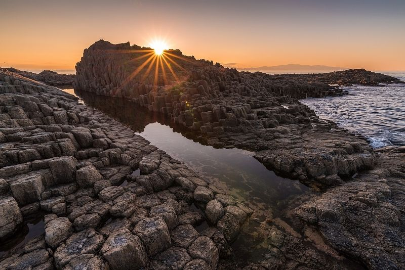кунашир, охотское море, столбчатый Базальтовое украшение моряphoto preview
