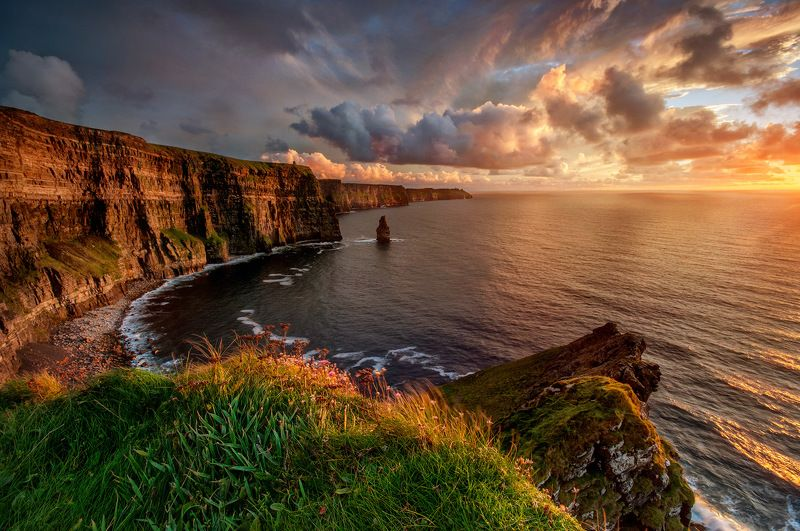 Cliffs, Mofer, Ireland, sky, sunset, atlantic, sea, green, red, seascape, landscape, europe, edge, world The Cliffphoto preview