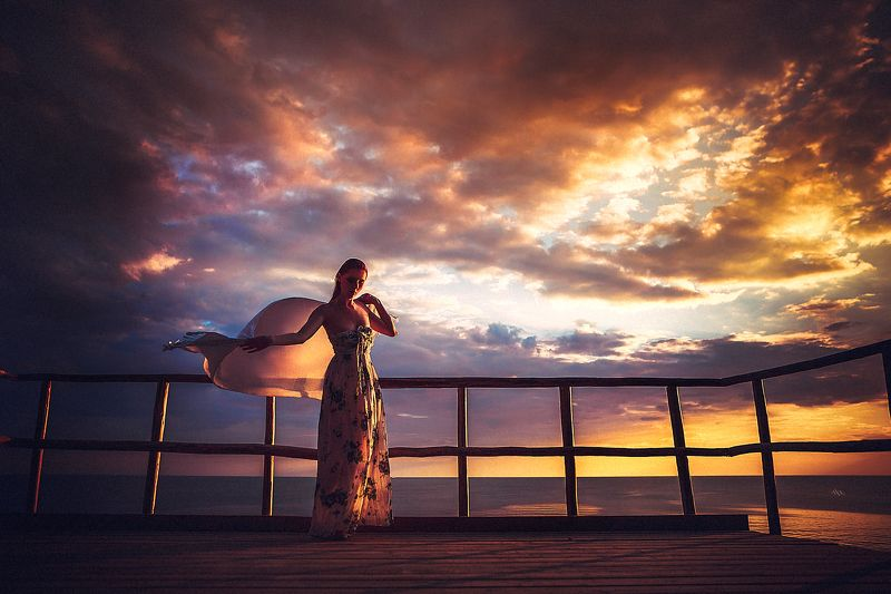 woman, art, portrait, fashion, beauty, sunset, colors Flying into sunsetphoto preview