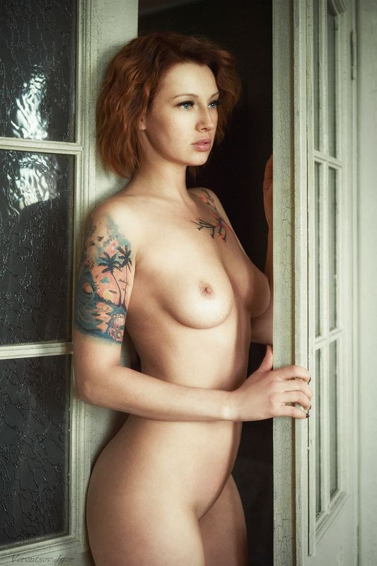 ню, девушка, грудь, обнажённая, дверь, красивая, арт photo preview