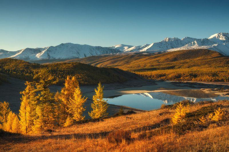 россия, алтай, республика алтай, горный алтай, природа, пейзаж, сибирь, горы, озеро, рассвет, осень, джангысколь Алтайская осеньphoto preview