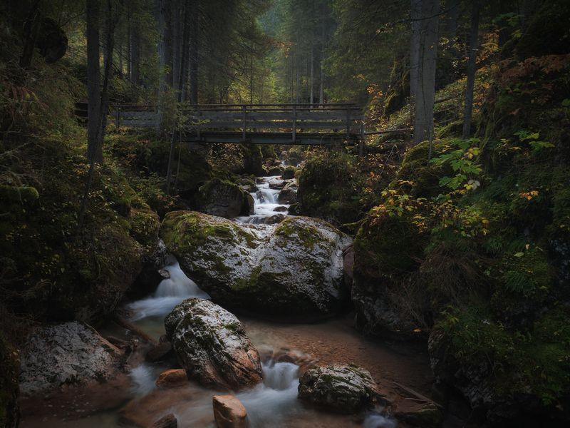 италия, доломиты, осень, ручей, водопад, мост,  carezza, вода Дорога к озеру Carezzaphoto preview