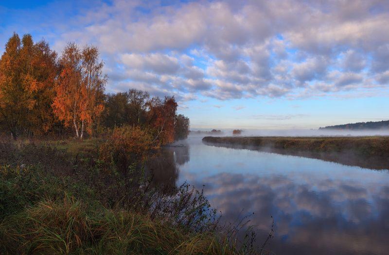 осень, дымка, река, Осенний рассвет у рекиphoto preview