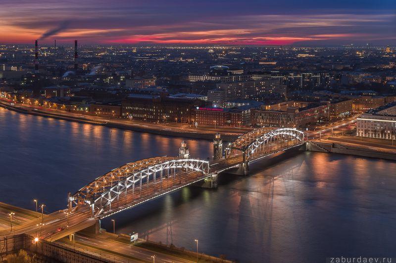 россия, петербург, санкт-петербург, город, вечер, закат, осень, река, нева, мост, архитектура, аэрофотосъемка, дрон, квадрокоптер Большеохтинский мостphoto preview