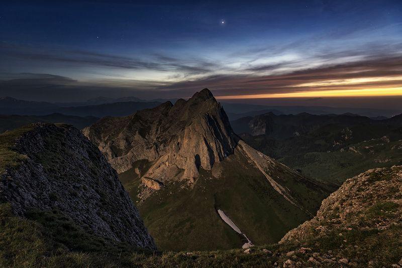 закат, большой тхач, малый тхач, асбестная, горы, пейзаж, рассвет, кавказ, адыгея, радуга, ачешбоки, облака, ночь, заповедник, Западный Ачешбок, в лунном светеphoto preview