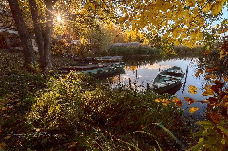 пейзаж,природа,осень,октябрь,лодки,россия,березы,вечер,закат,красота \