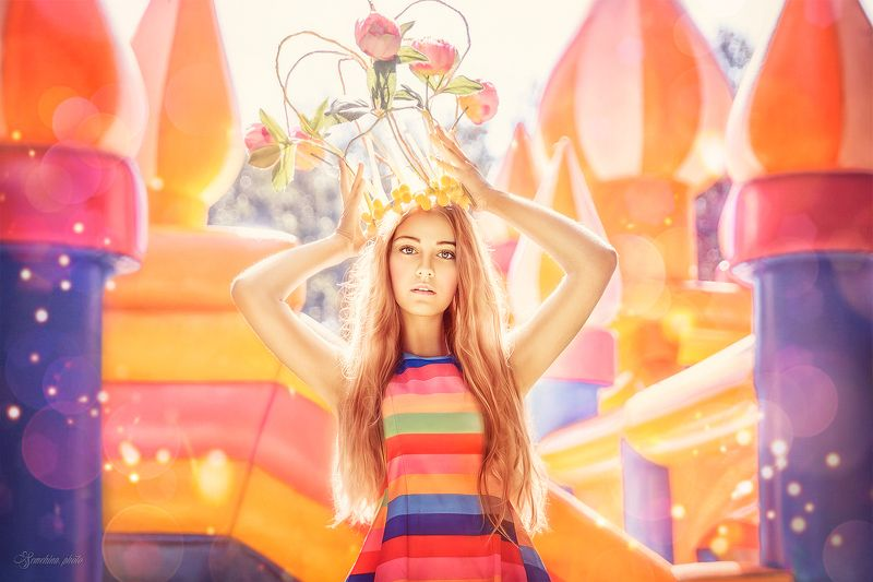 девушка, принцесса, сказка, дисней, лето, солнце, girl, princess, disney, castle, summer, yellow, sunshine photo preview
