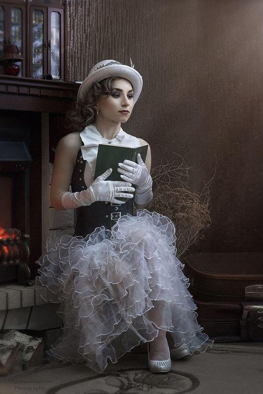 стимпанк, жюль верн, другая эпоха, мечты, за чтением, девушка с книгой В мечтах о приключенияхphoto preview
