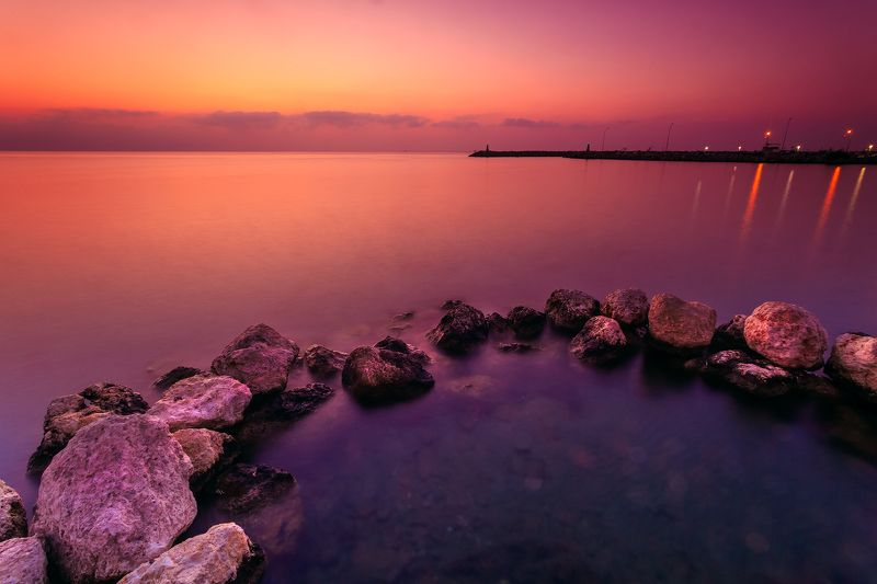 landscape, seascape, cyprus, sunrise, larnaca, colors Indigo Wisdomphoto preview