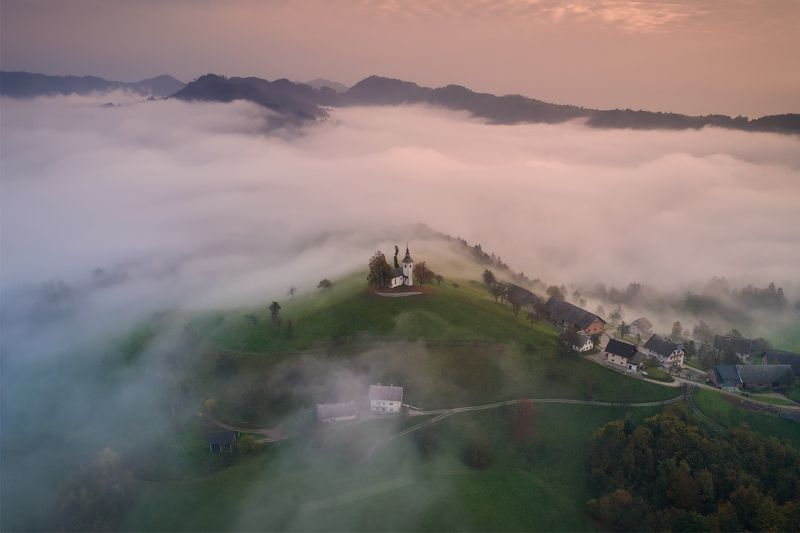 slovenia, словения, туман, утро, dji, phantom Over in the morning.photo preview