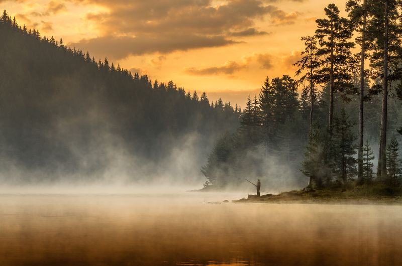 landscape, nature, sunrise, morning, dawn, утро, пейзаж, озеро, coastal, coast, beach, lake, long, exposure, scenery, fog, foggy, mist, fishing Morning moodsphoto preview