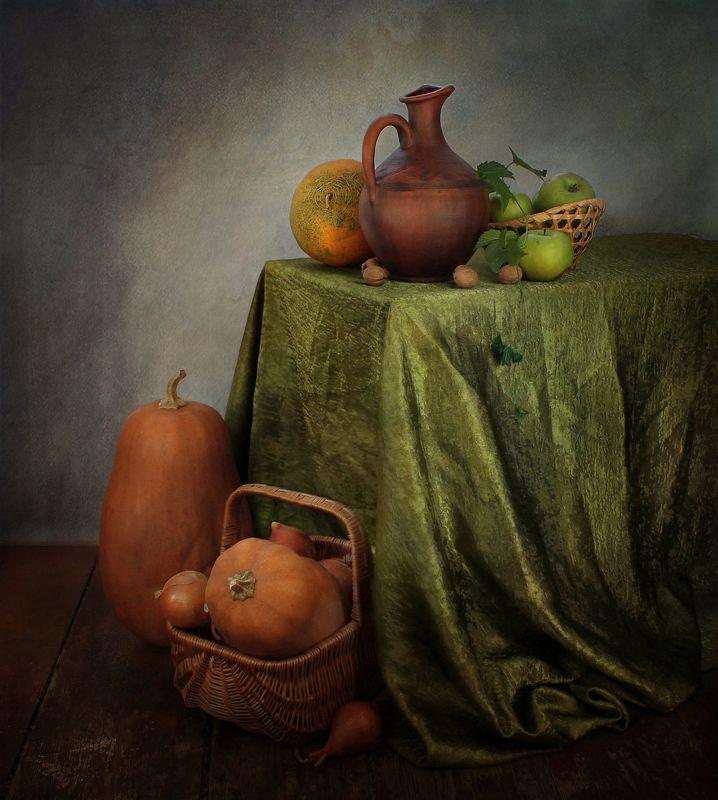 натюрморт, осень, кувшин, тыквы, корзина, дыня, скатерть Стоял ноябрь уж у двора...photo preview