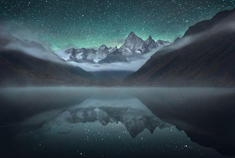 домбай, гоначхир,чотча, кавказ, северный кавказ, ночное фото Туманное Озероphoto preview